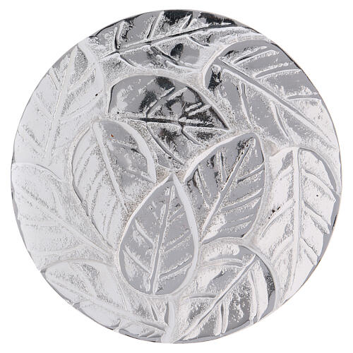 Candle holder plate decorated with leaves silver-plated aluminium 3 1/2 in 1