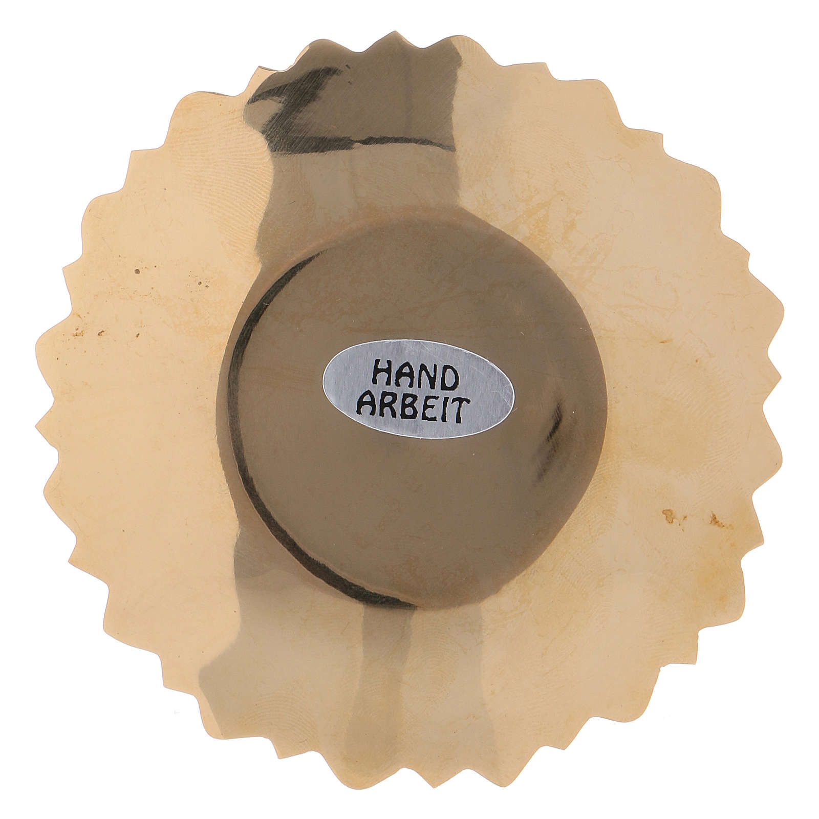 Platillo portavela borde hojas latón dorado 4 cm 3