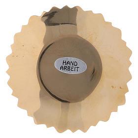 Platillo portavela borde hojas latón dorado 4 cm s2