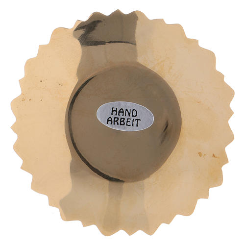 Platillo portavela borde hojas latón dorado 4 cm 2