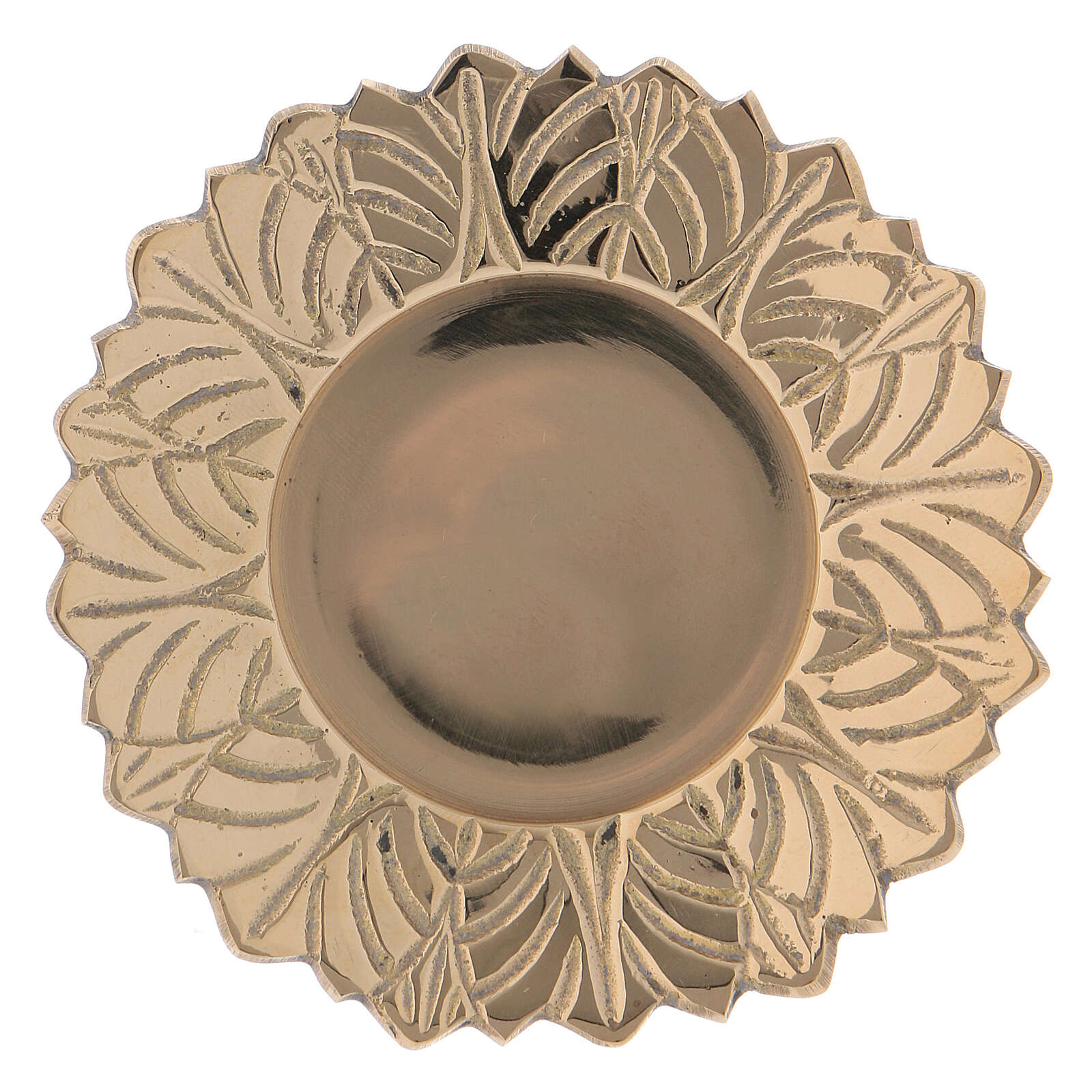 Gold plated brass candle holder plate with leaves decoration on the edge 1 1/2 in 3