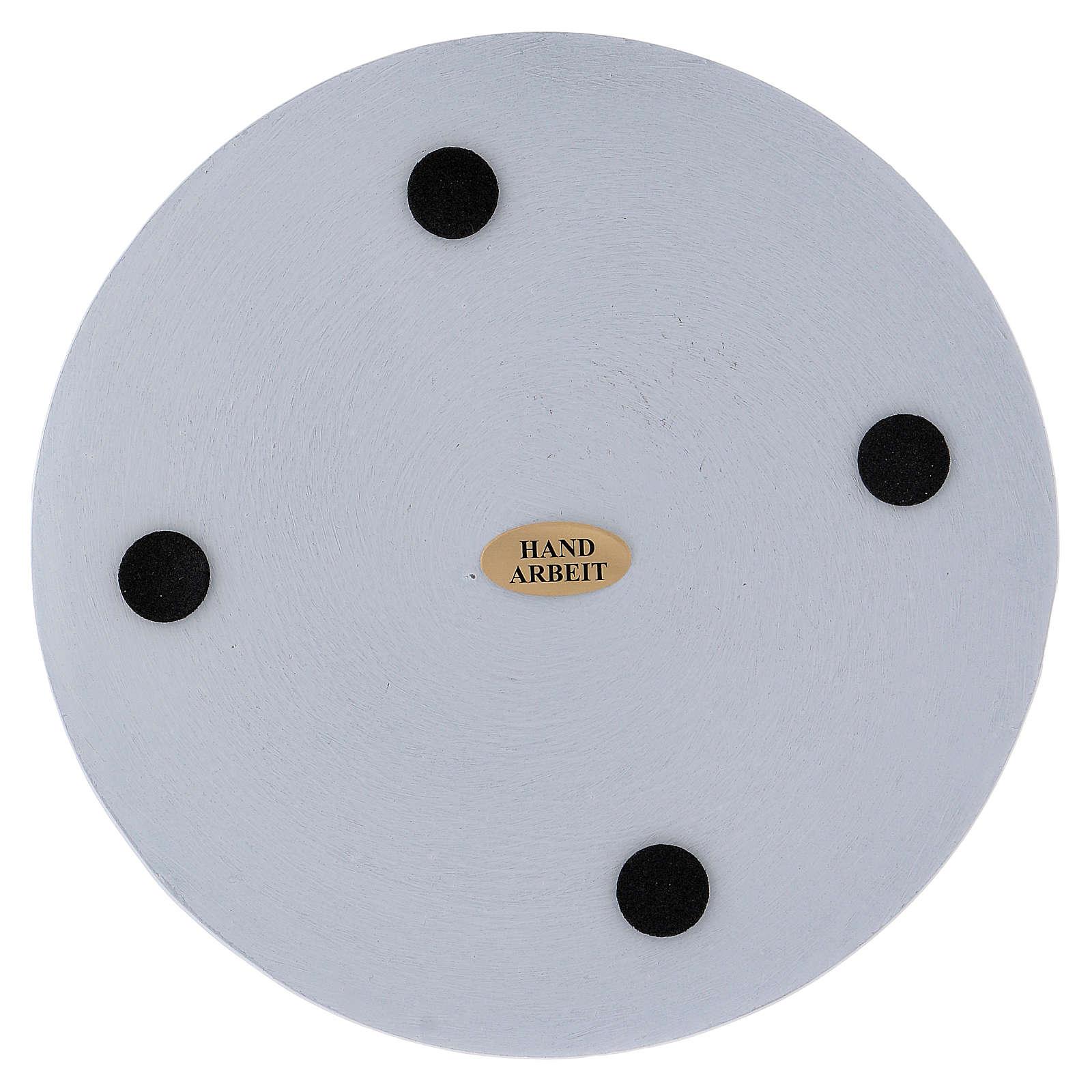 Piattino portacandela rotondo alluminio bianco 14 cm 3