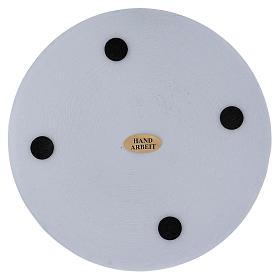 Piattino portacandela rotondo alluminio bianco 14 cm s2