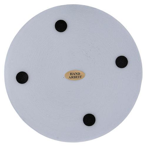 Piattino portacandela rotondo alluminio bianco 14 cm 2