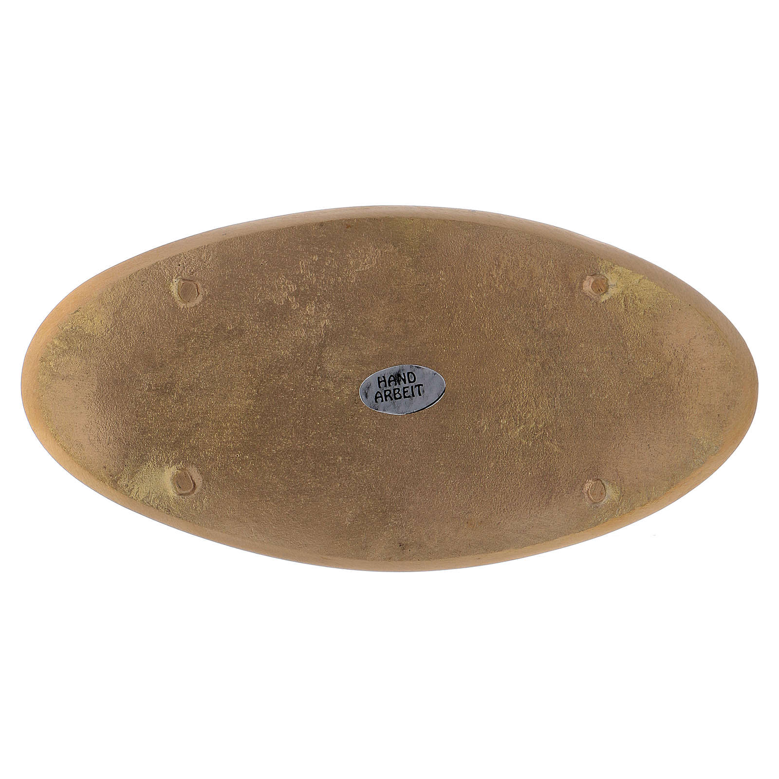 Piattino ovale portacandela incisioni ottone dorato opaco 18x9 cm 3