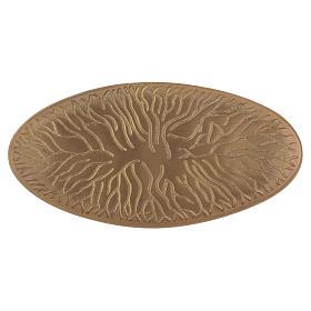 Piattino ovale portacandela incisioni ottone dorato opaco 18x9 cm s1