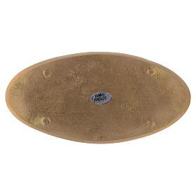 Piattino ovale portacandela incisioni ottone dorato opaco 18x9 cm s2