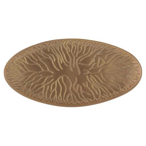 Piattino ovale portacandela incisioni ottone dorato opaco 18x9 cm 1