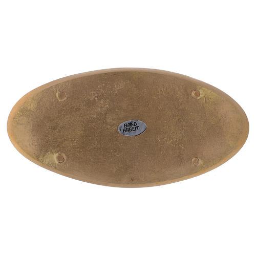 Piattino ovale portacandela incisioni ottone dorato opaco 18x9 cm 2