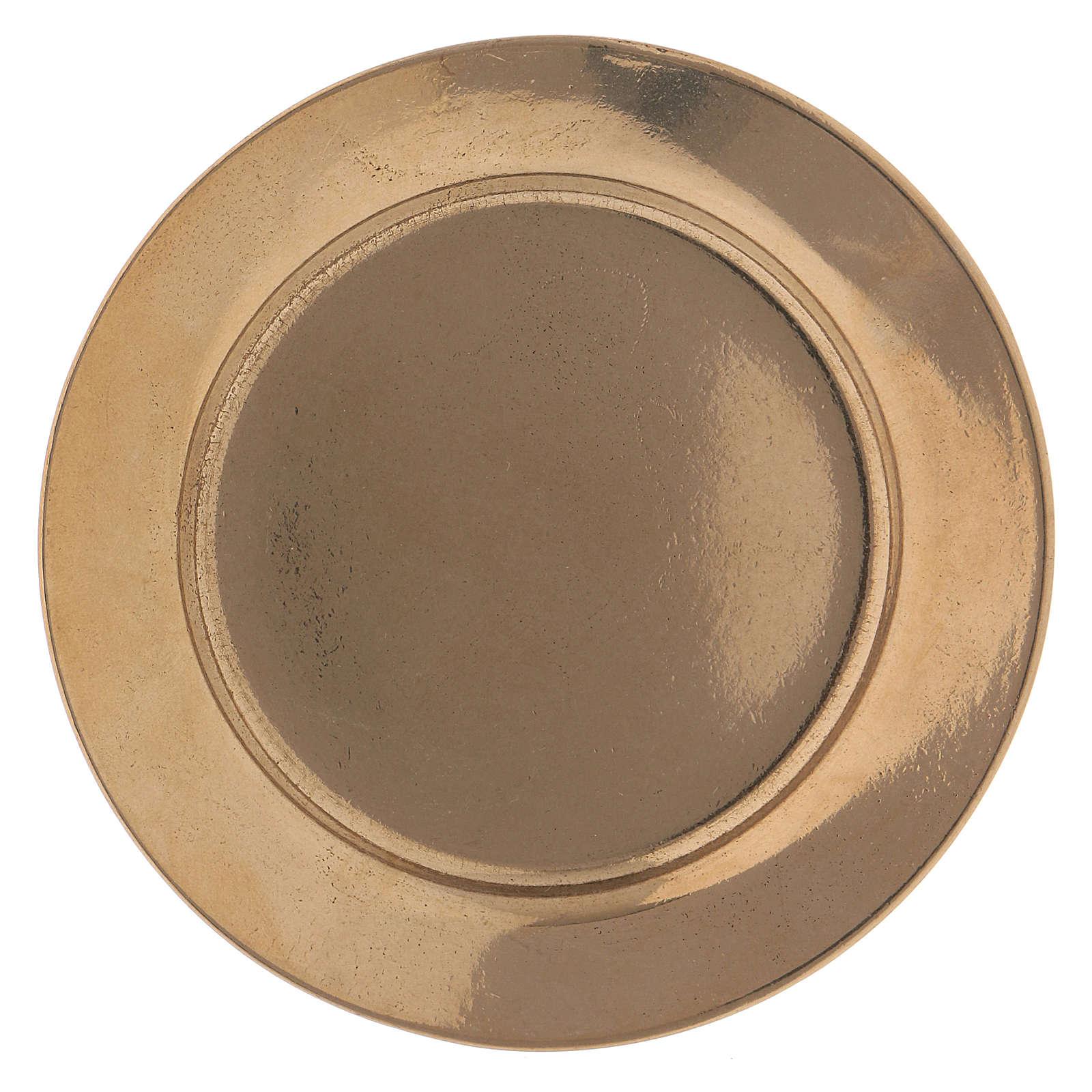 Piattino portacandela semplice 7 cm ottone dorato 3