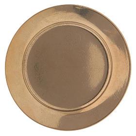 Piattino portacandela semplice 7 cm ottone dorato s1