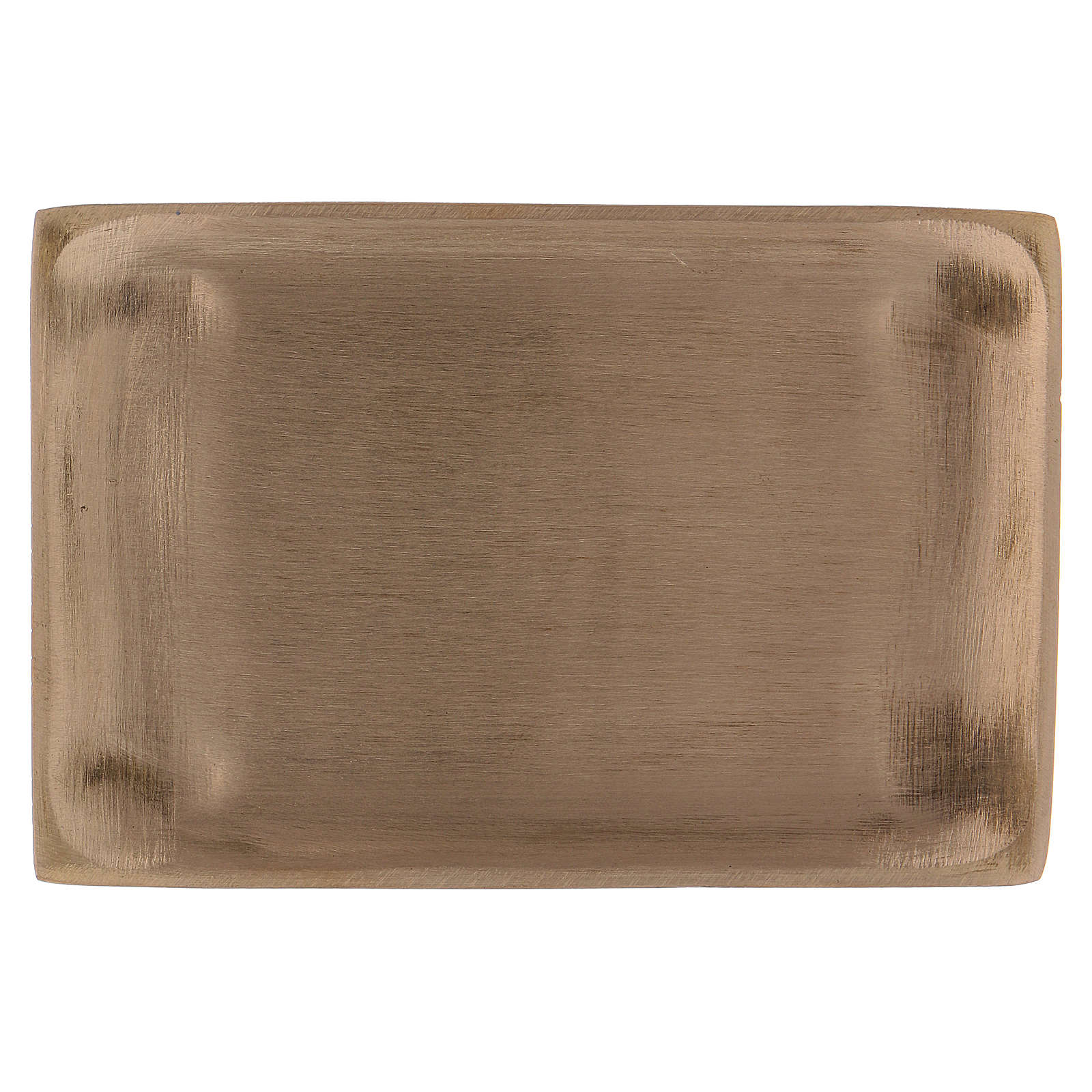 Piattino portacandela ottone dorato opaco rettangolare 11x8 cm 3