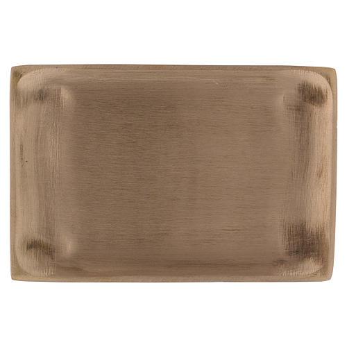 Piattino portacandela ottone dorato opaco rettangolare 11x8 cm 1