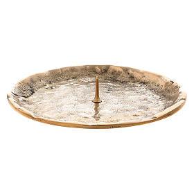 Chandeliers métal: Assiette bougeoir avec pique 7 cm laiton doré
