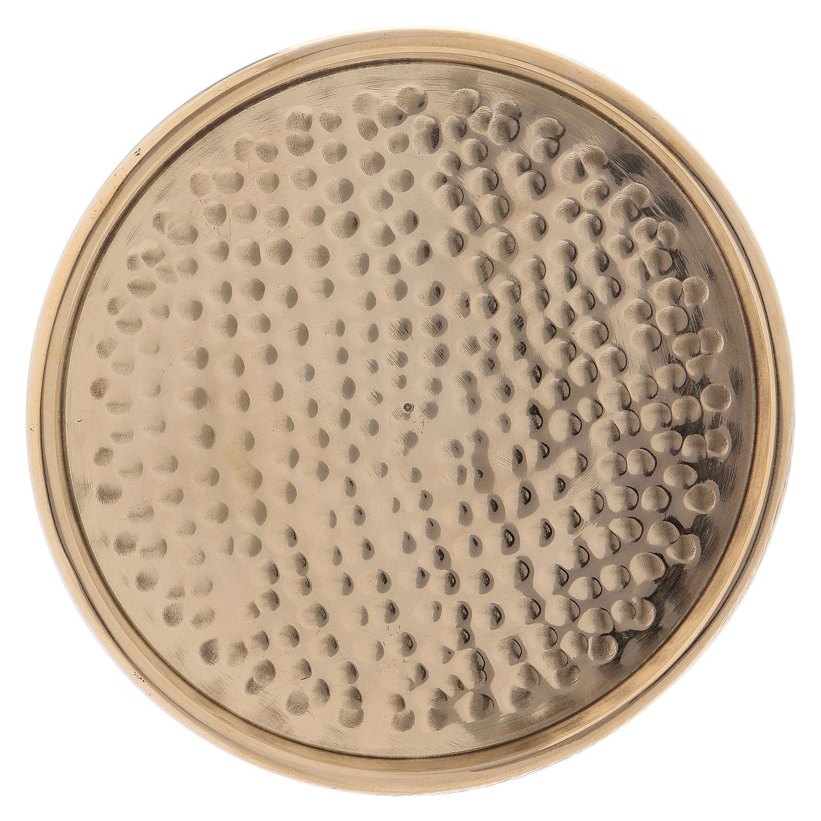 Piattino portacandela rotondo martellato ottone dorato 8 cm 3