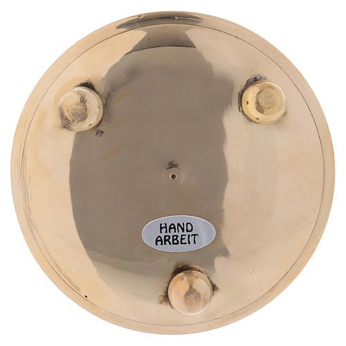 Piattino portacandela rotondo martellato ottone dorato 8 cm 2