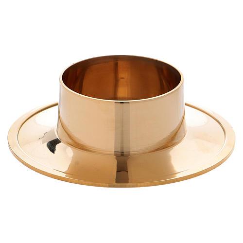 Portacandela semplice ottone dorato lucido 5 cm 1