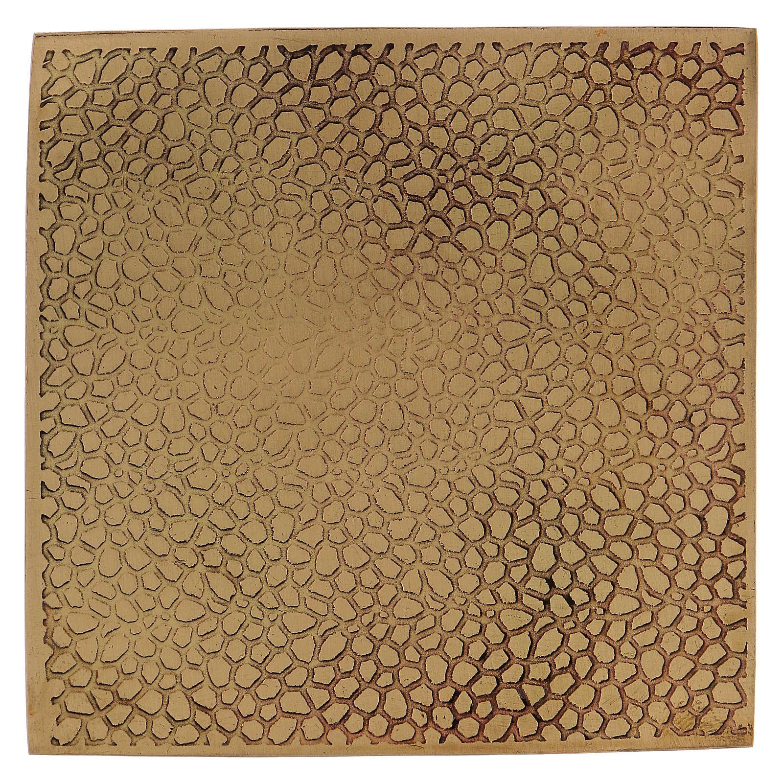 Piattino portacandela quadrato ottone dorato opaco 10x10 cm 3