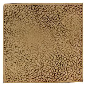 Piattino portacandela quadrato ottone dorato opaco 10x10 cm s1
