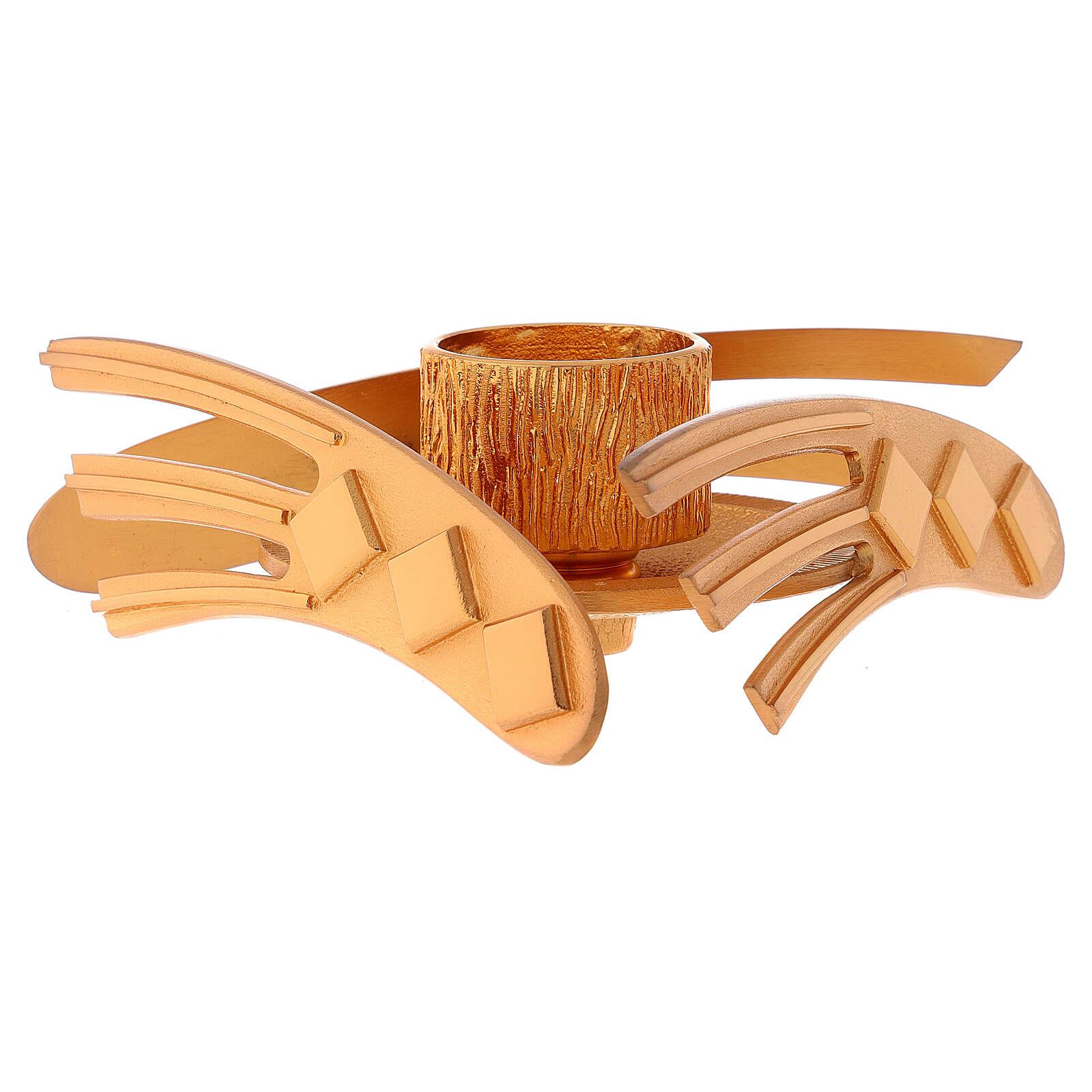 Candelero dorado latón fundido h 2 cm 4
