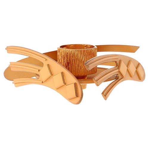 Candelero dorado latón fundido h 2 cm 2