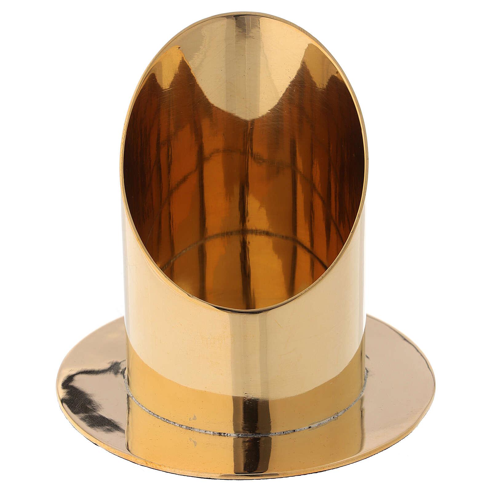Candle holder diameter 7 cm shiny golden brass oblique cut 4