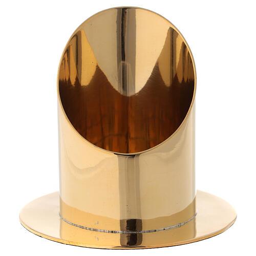 Candle holder diameter 7 cm shiny golden brass oblique cut 1