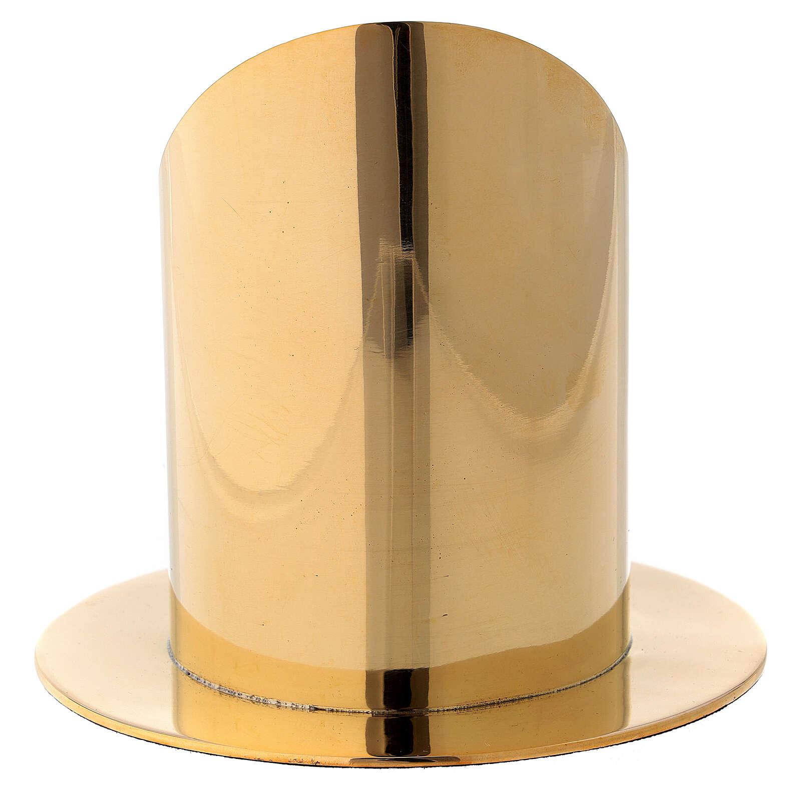 Portavela diámetro 7 cm latón dorado lúcido corte oblicuo 4