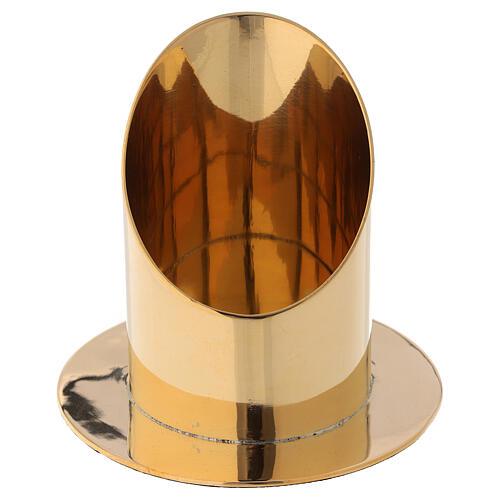 Portavela diámetro 7 cm latón dorado lúcido corte oblicuo 2