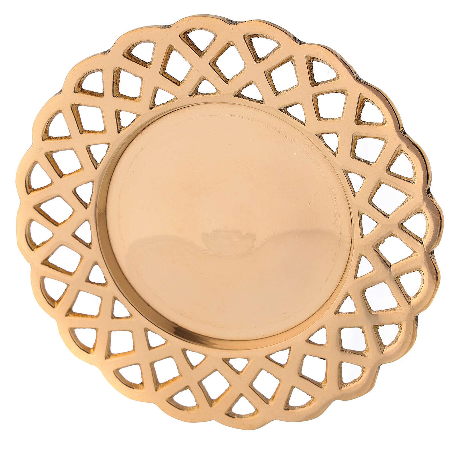 Plato portavela bordes perforados latón dorado 3