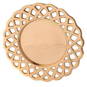 Plato portavela bordes perforados latón dorado s2