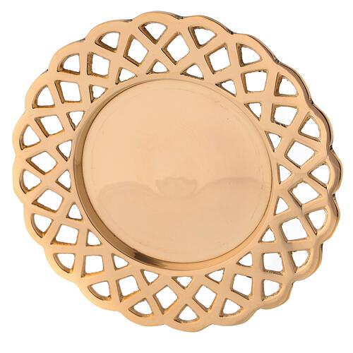 Plato portavela bordes perforados latón dorado 2