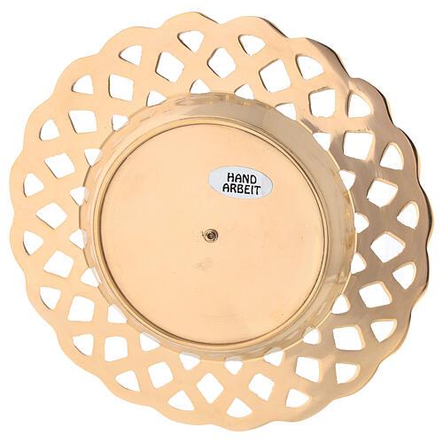 Plato portavela bordes perforados latón dorado 4