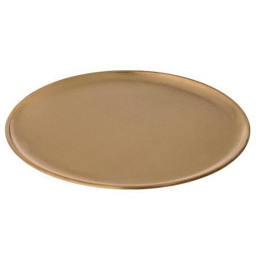 Candle holder plate diameter 21 cm satin golden brass 1