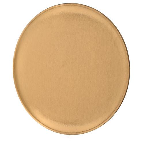 Candle holder plate diameter 21 cm satin golden brass 2