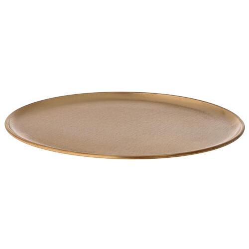 Candle holder plate diameter 21 cm satin golden brass 3
