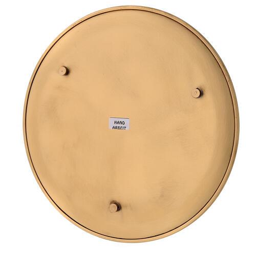 Candle holder plate diameter 21 cm satin golden brass 4