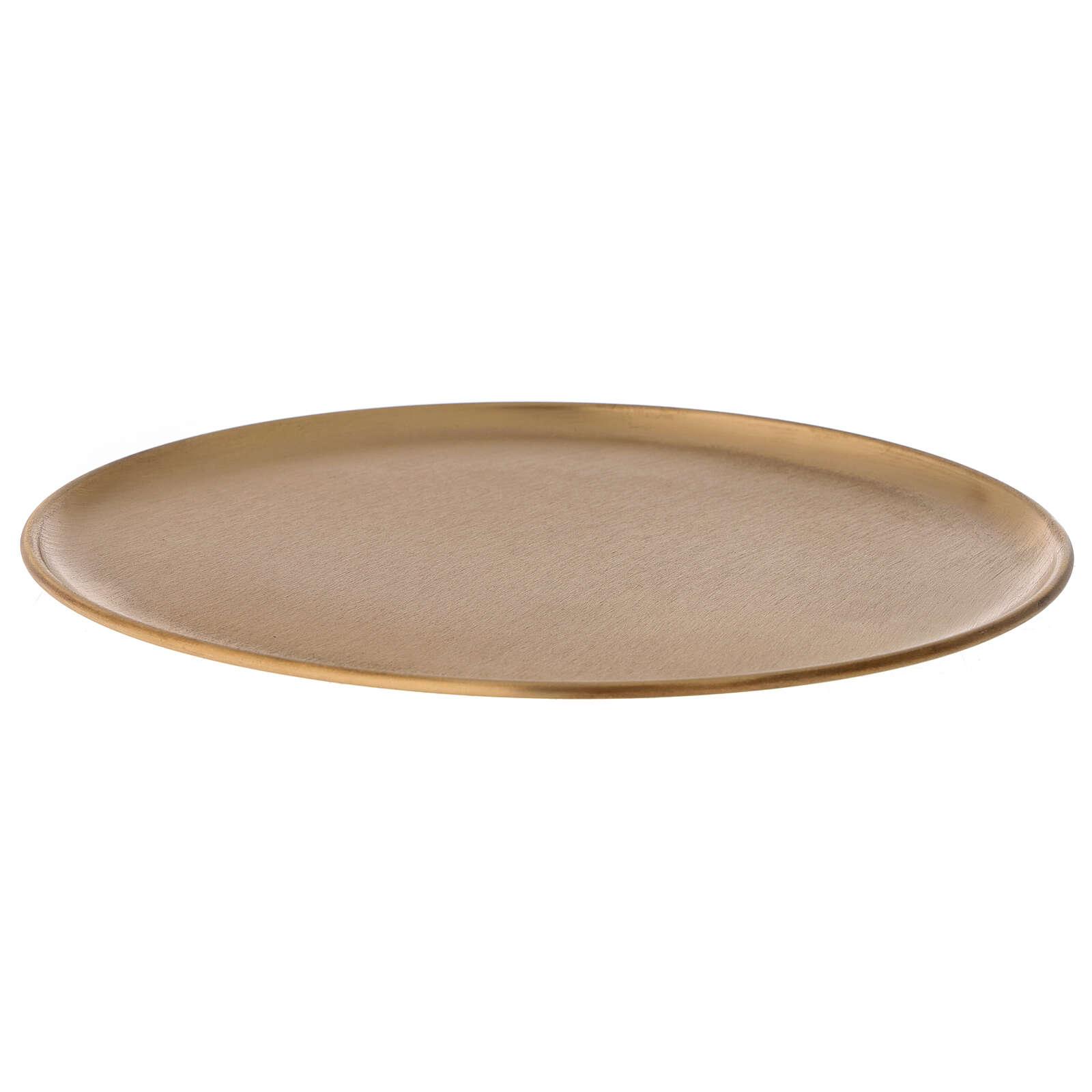 Plato portavela diámetro 21 cm latón dorado satinado 3