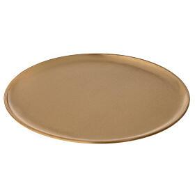 Assiette porte-bougie diamètre 21 cm laiton doré satiné s1