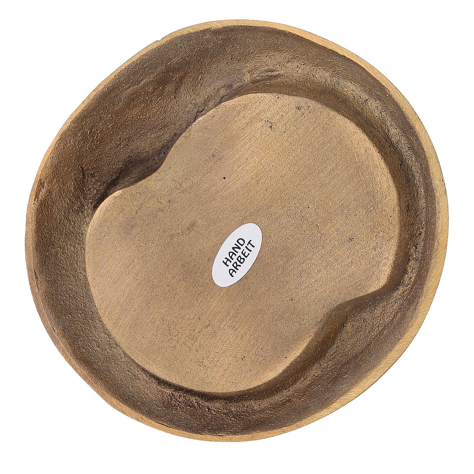 Plato portavela doble ovalado latón dorado satinado 3
