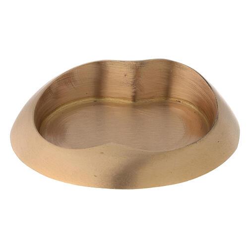 Plato portavela doble ovalado latón dorado satinado 2
