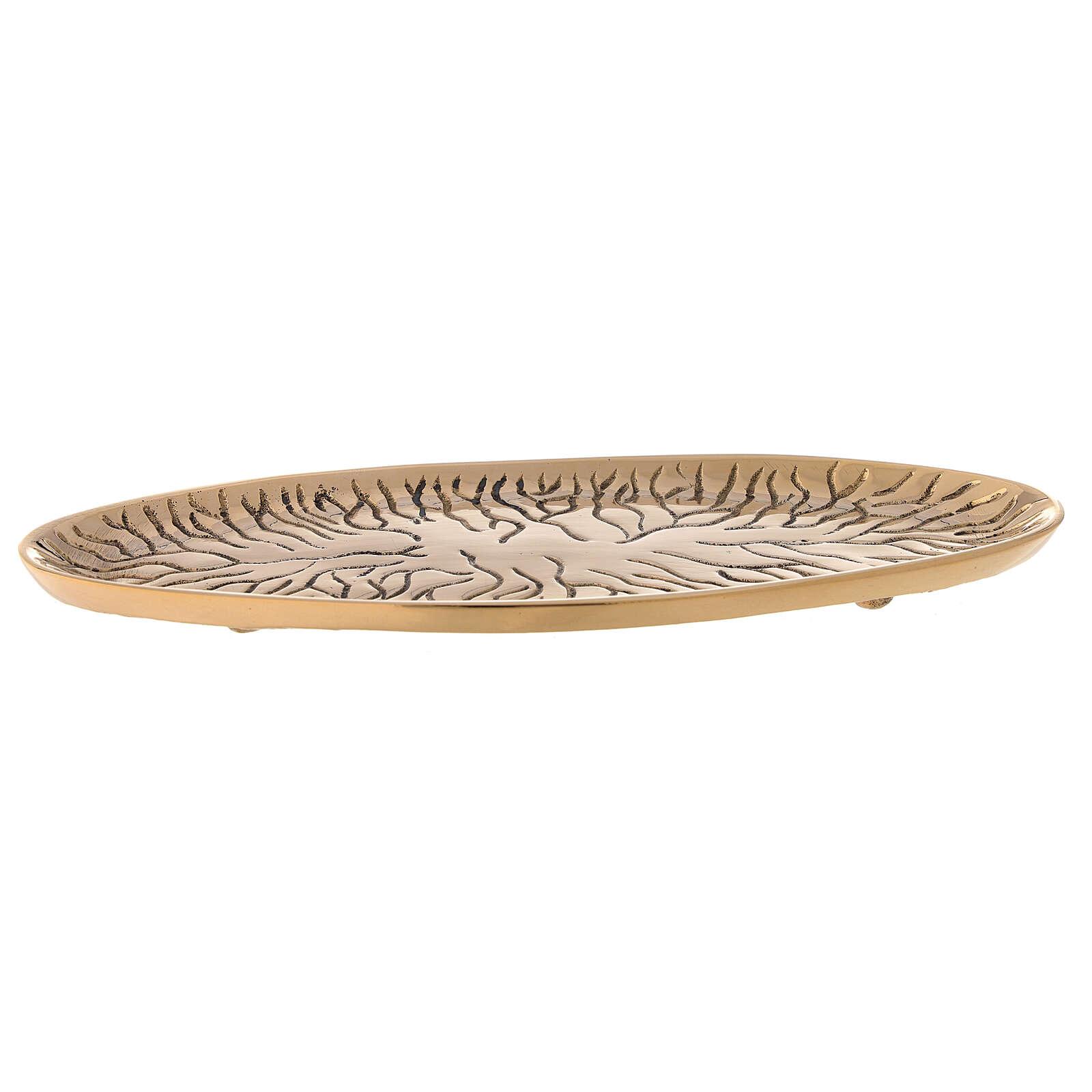 Assiette ovale laiton doré brillant gravé effet fissures 3