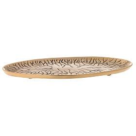 Assiette ovale laiton doré brillant gravé effet fissures s1