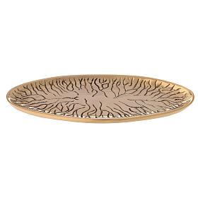 Assiette ovale laiton doré brillant gravé effet fissures s2