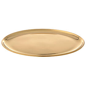 Plate for candle shiny golden brass diameter 17 cm s1