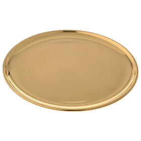 Plate for candle shiny golden brass diameter 17 cm s2