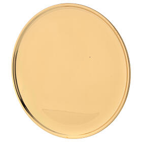 Plate for candle shiny golden brass diameter 17 cm s3