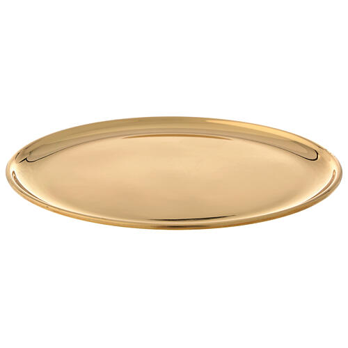 Plate for candle shiny golden brass diameter 17 cm 1