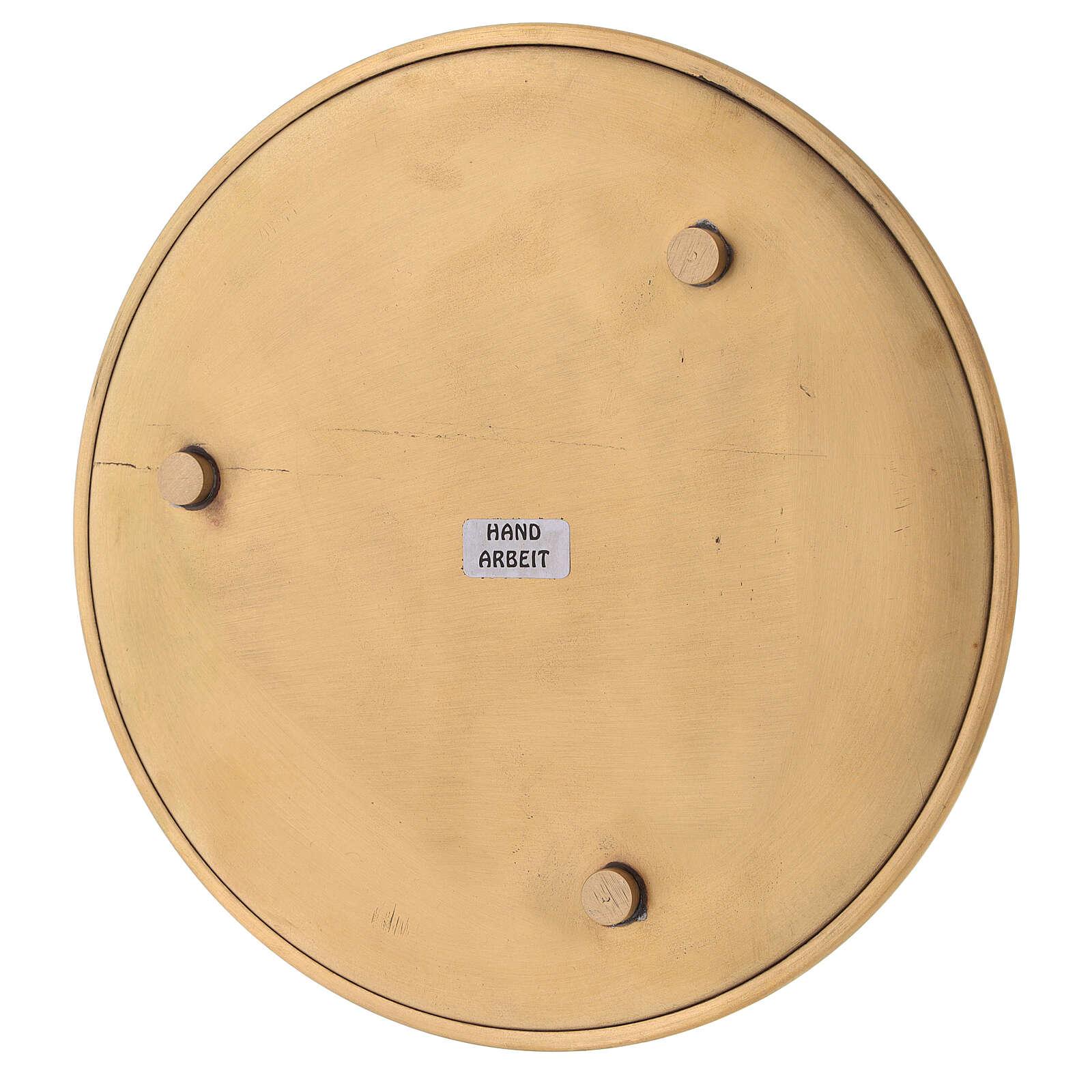 Plato para vela latón dorado lúcido diámetro 17 cm 3