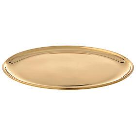 Plato para vela latón dorado lúcido diámetro 17 cm s1